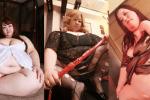 Mなデブ専男性を、ドSすぎる巨体風俗嬢3人が調教しているプレイ体験エロ動画4本。